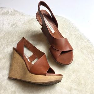 DVF | Leather Wedge Sandals Size 6